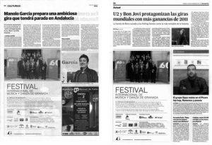 Imagen de un periódico que muestra el apoyo de Las Nieves con el círculo de Mecenazgo