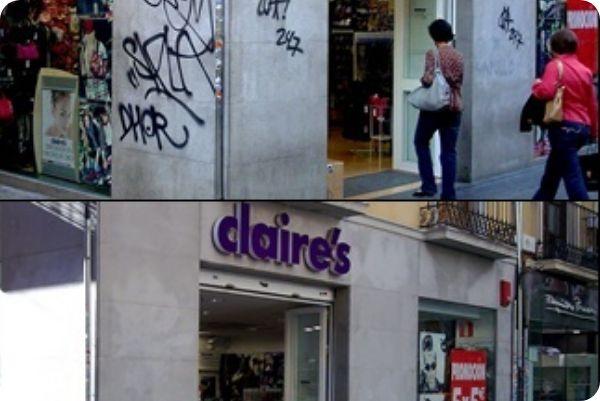 """Imagen del antes y después de limpieza de grafitis por """"Las Nieves"""""""