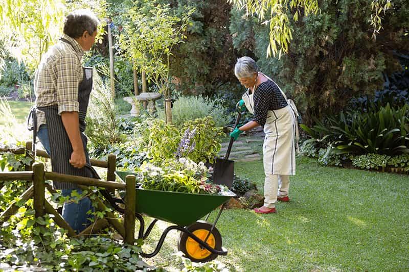 fotografía de dos personas realizando la actividad de jardinería